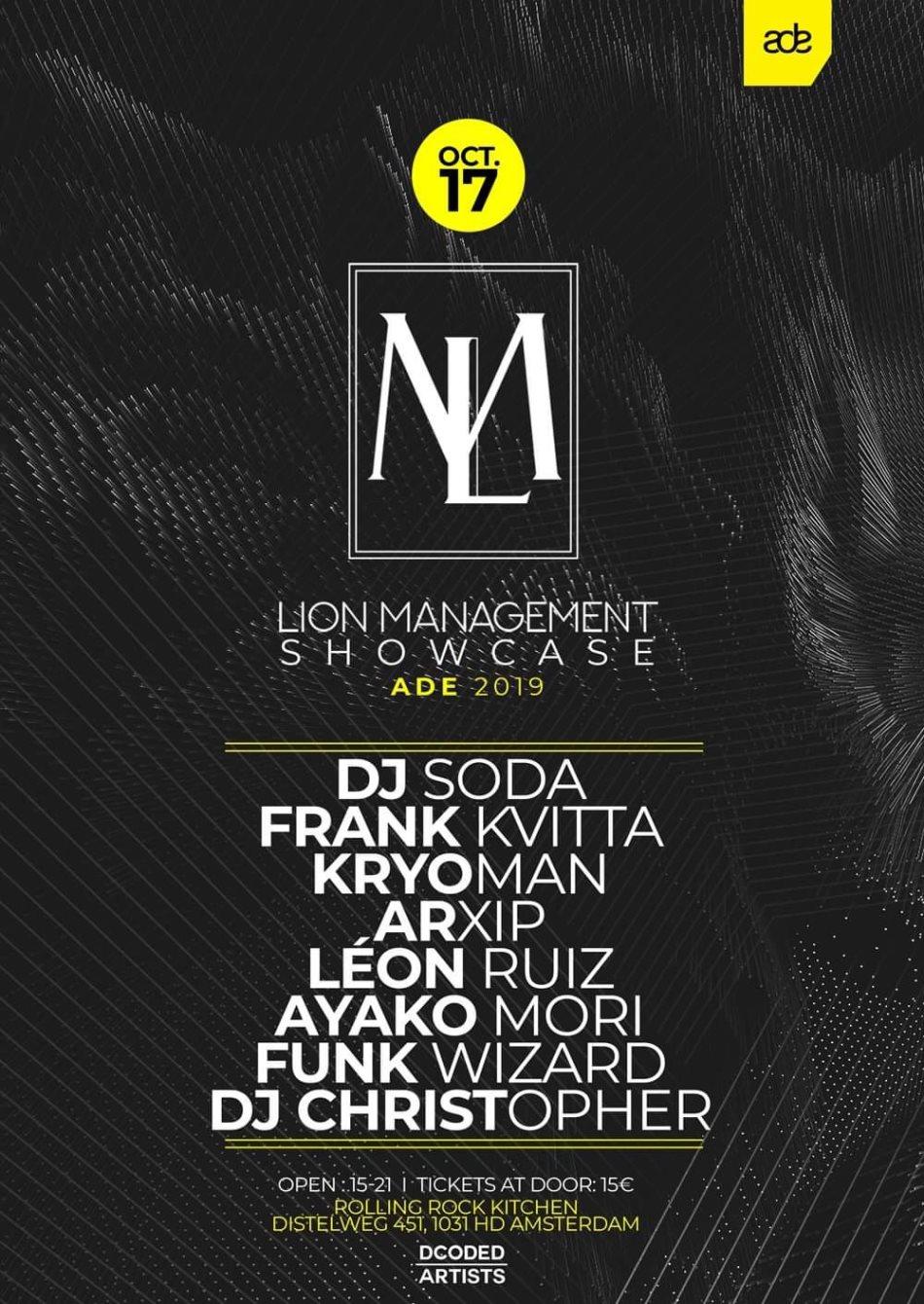 Lion Management Showcase // ADE 2019 - Flyer front