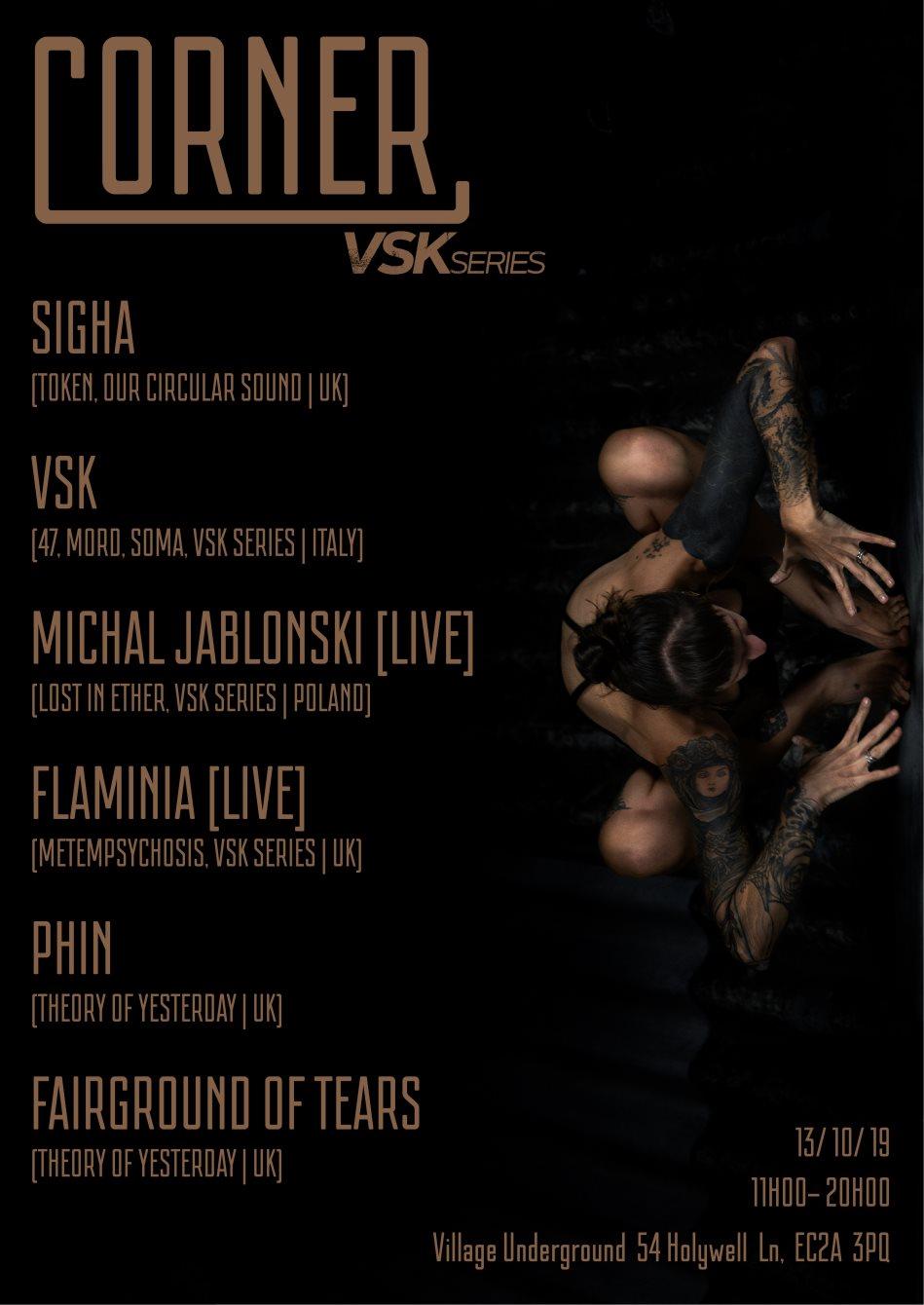 Corner present VSK Series with Sigha, VSK, Michal Jablonski, Flaminia and More - Flyer front