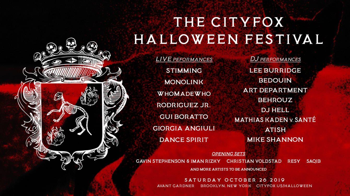 The Cityfox Halloween Festival: Lee Burridge, Bedouin, Stimming, Monolink & More - Flyer front