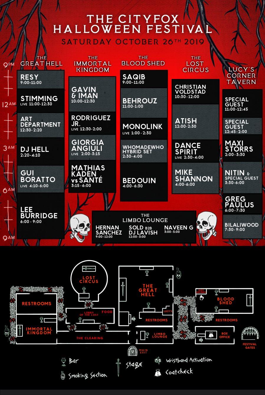 The Cityfox Halloween Festival: Lee Burridge, Bedouin, Stimming, Monolink & More - Flyer back