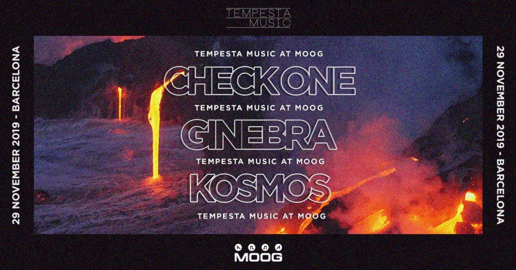 Tempesta Showcase: Check One + Kosmos + Ginebra - Flyer front
