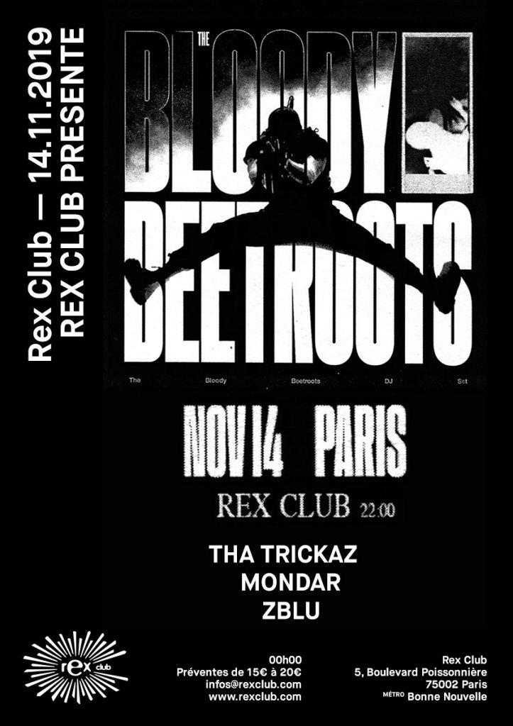 Rex Club presente: The Bloody Beetroots (Djset), Tha Trickaz, Mondar, Zblu - Flyer front