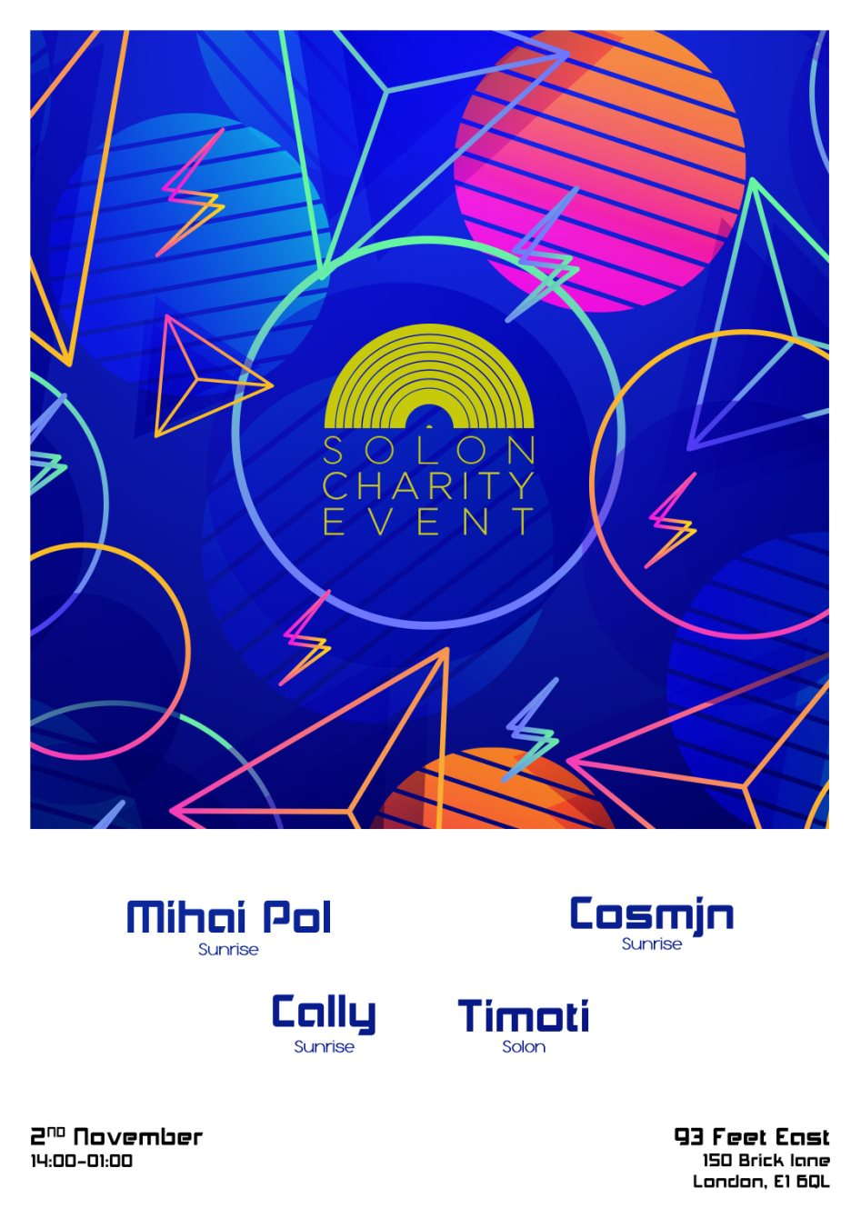 Solon Charity Event with Mihai Pol, Cosmjn, caLLy and Timoti - Flyer front