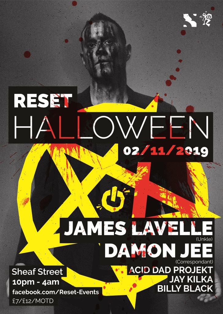 Reset Halloween - James Lavelle & Damon Jee - Flyer front
