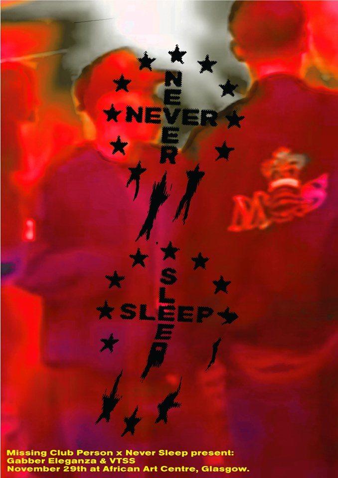 Missing Persons Club x Never Sleep Pres. Gabber Eleganza & VTSS - Flyer back