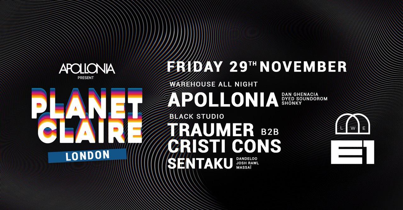 Apollonia present: Planet Claire - Cristi Cons & Traumer - Flyer front