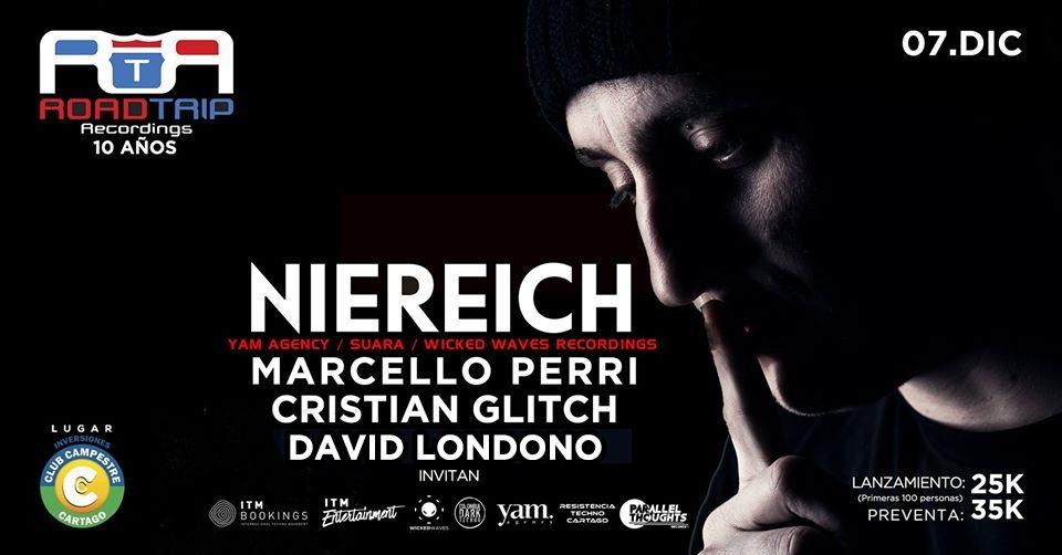 Niereich / 10 Años Road Trip Recordings / Club Campestre Cartago - Flyer back