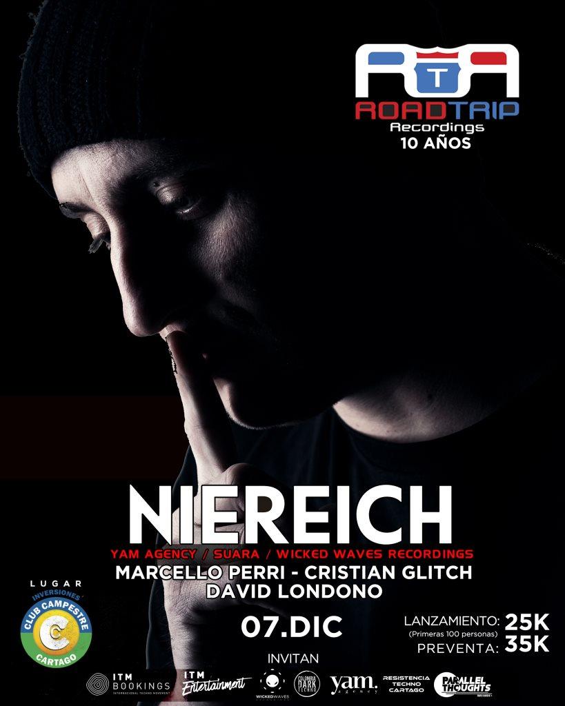 Niereich / 10 Años Road Trip Recordings / Club Campestre Cartago - Flyer front