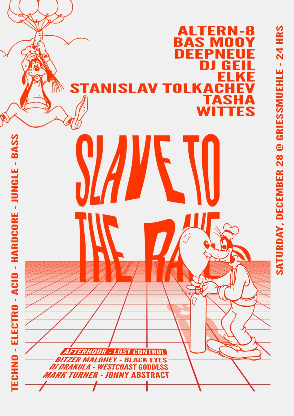 Slave To The Rave 18 with Bas Mooy, Stanislav Tolkachev, Altern8 & More - Flyer front