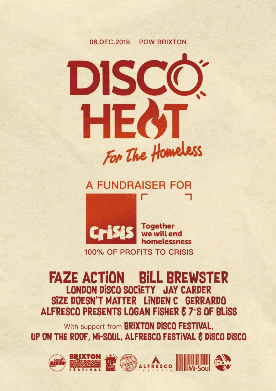Disco Heat: A Fundraiser in Support of Crisis - Flyer front