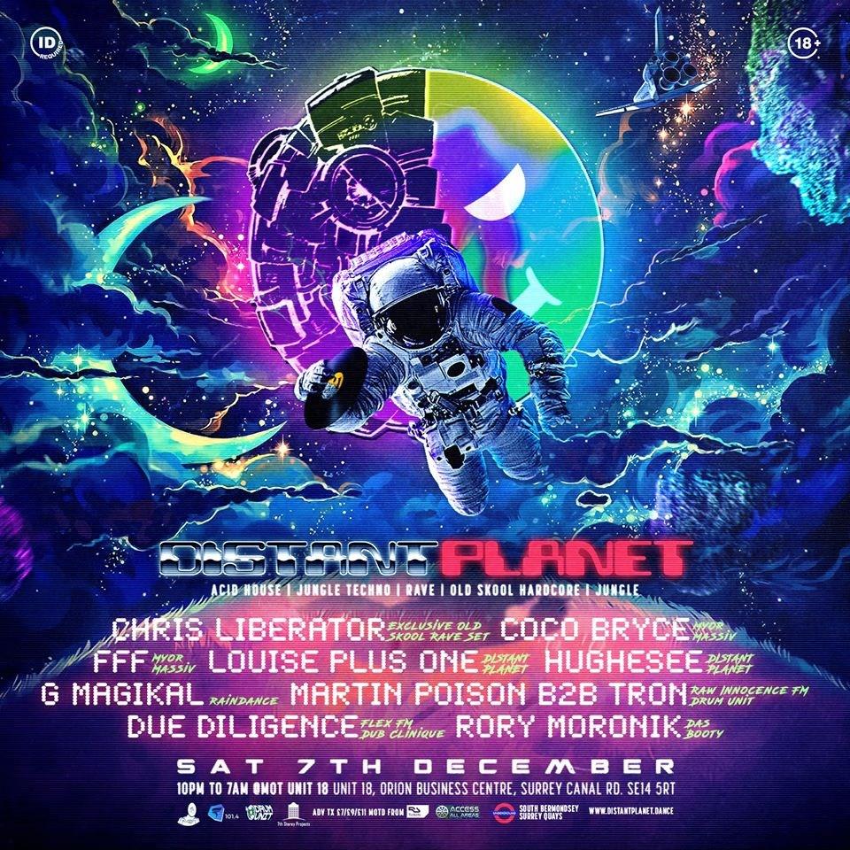 Distant Planet - Old Skool & Jungle Warehouse Rave. - Flyer front