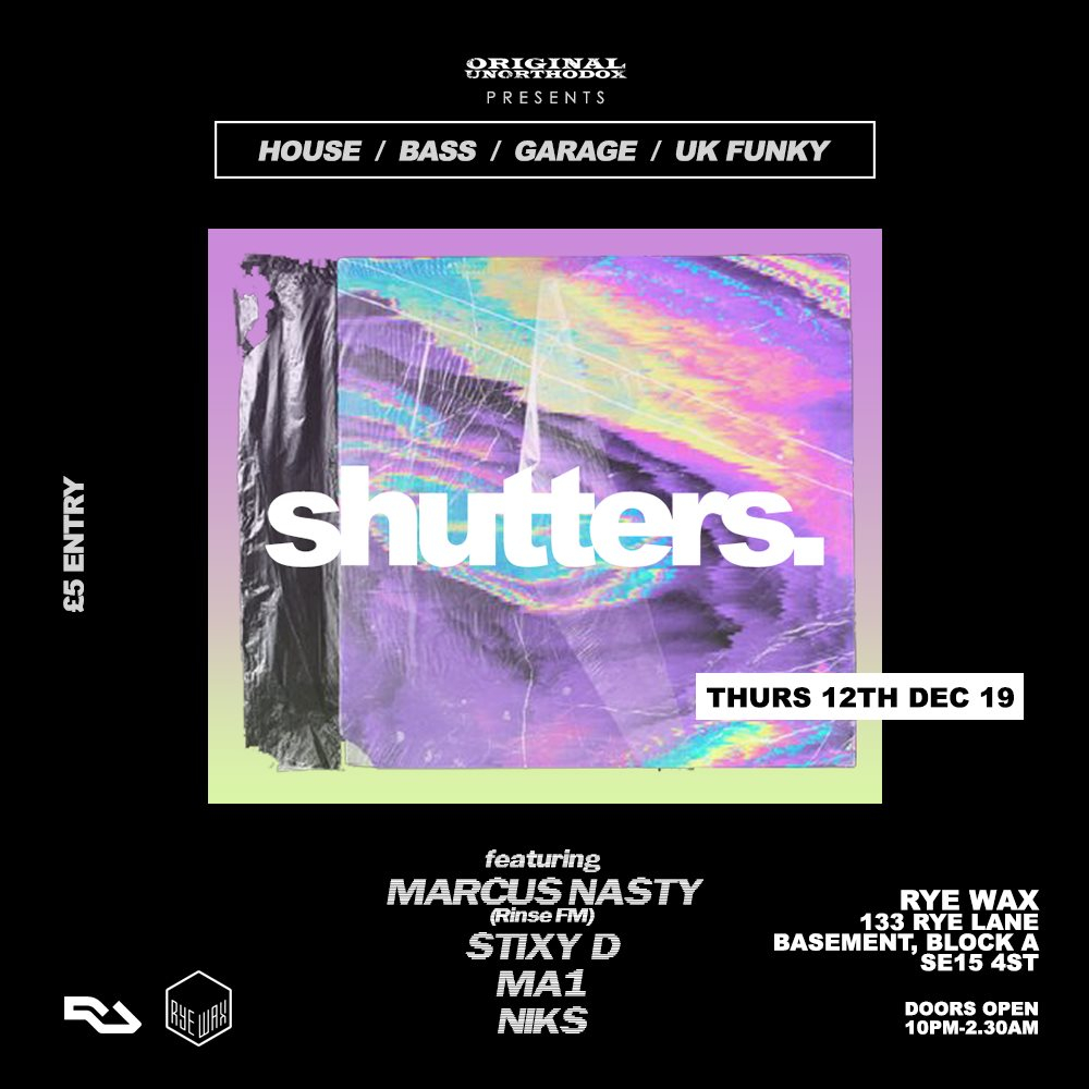 shutters. with Marcus Nasty - Flyer front