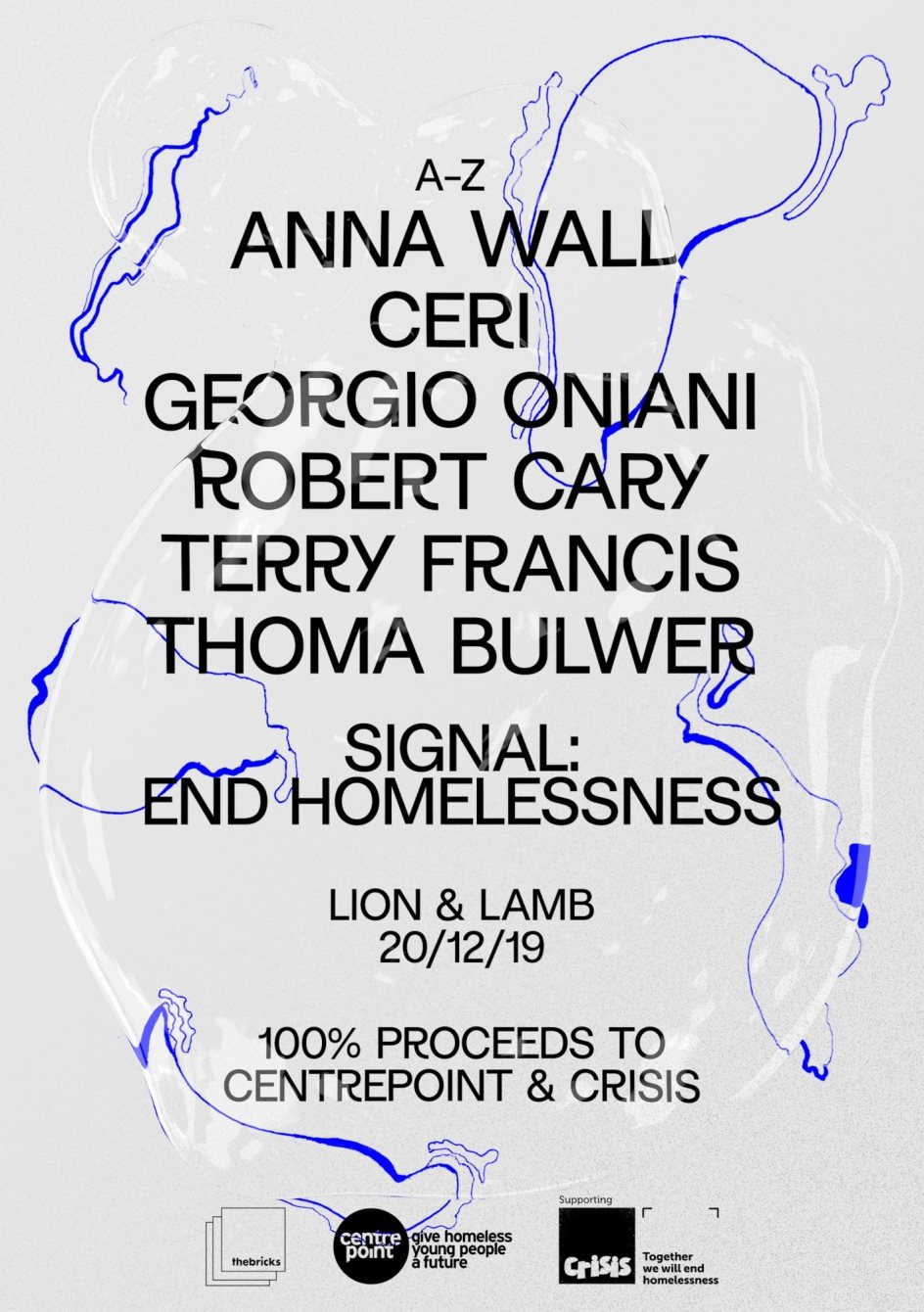 Signal: End Homelessness with Terry Francis, Anna Wall and Friends - Flyer front