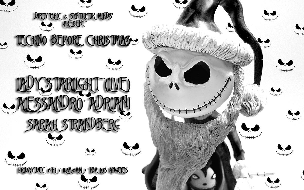 Techno Before Christmas: Lady Starlight (Live), Alessandro Adriani & Sarah Strandberg - Flyer front