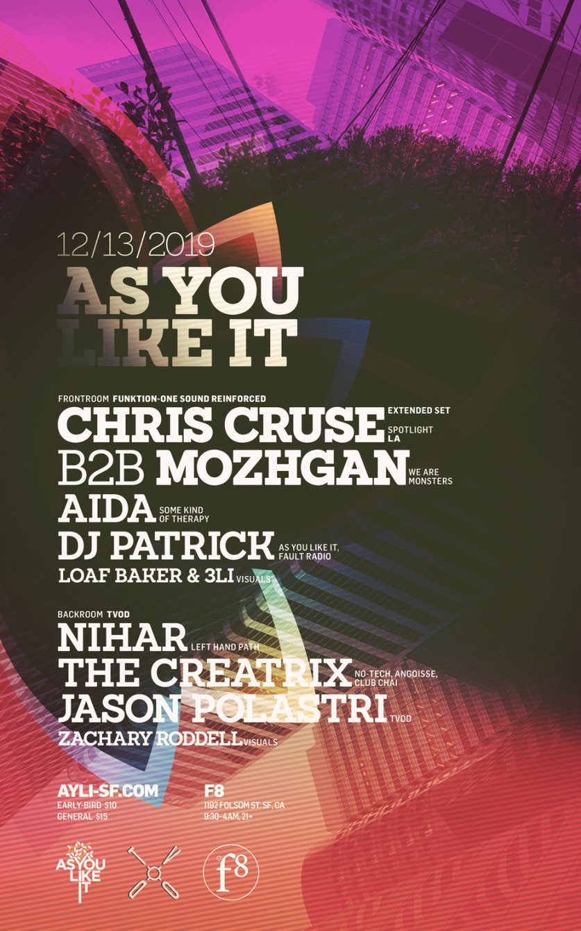 As You Like It with Chris Cruse B2B Mozhgan & Tvod - Flyer front