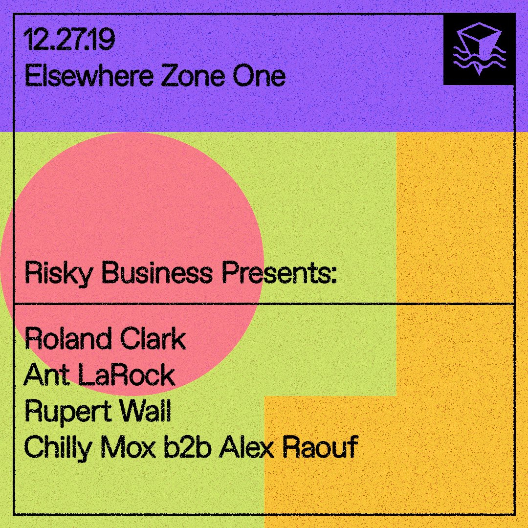 Risky Business presents: Roland Clark, Rupert Wall, Chilly Mox and Alex Raouf - Flyer back