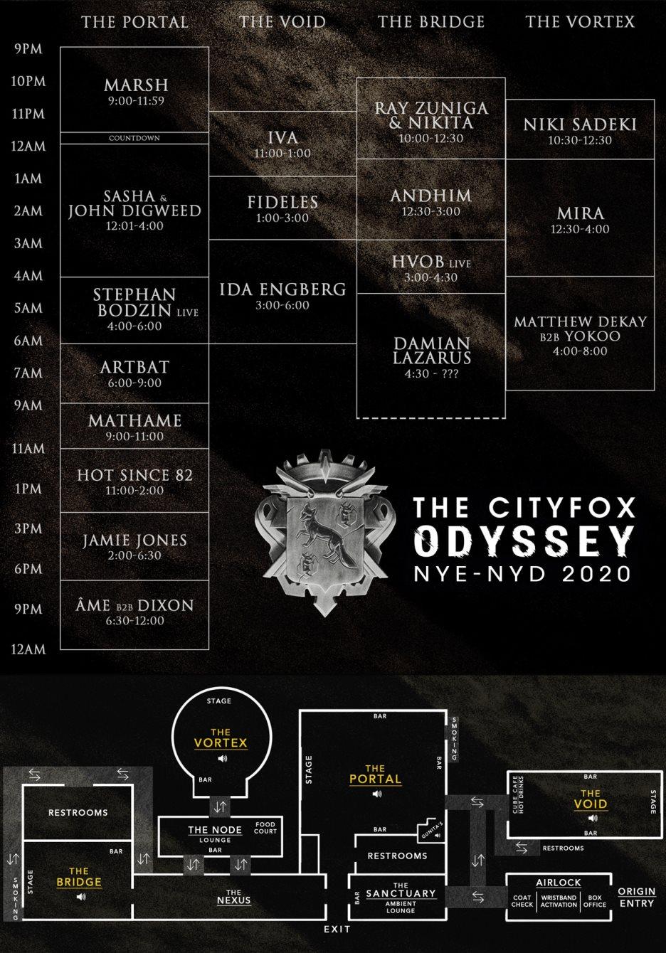 Cityfox Odyssey NYE & NYD 2020: Âme b2b Dixon, Hot Since 82, Sasha & John Digweed & More - Flyer back