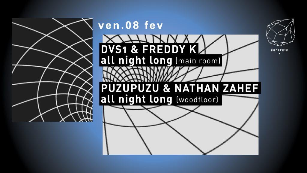 Concrete: DVS1 & Freddy K all Night Long, Puzupuzu & Nathan Zahef - Flyer front