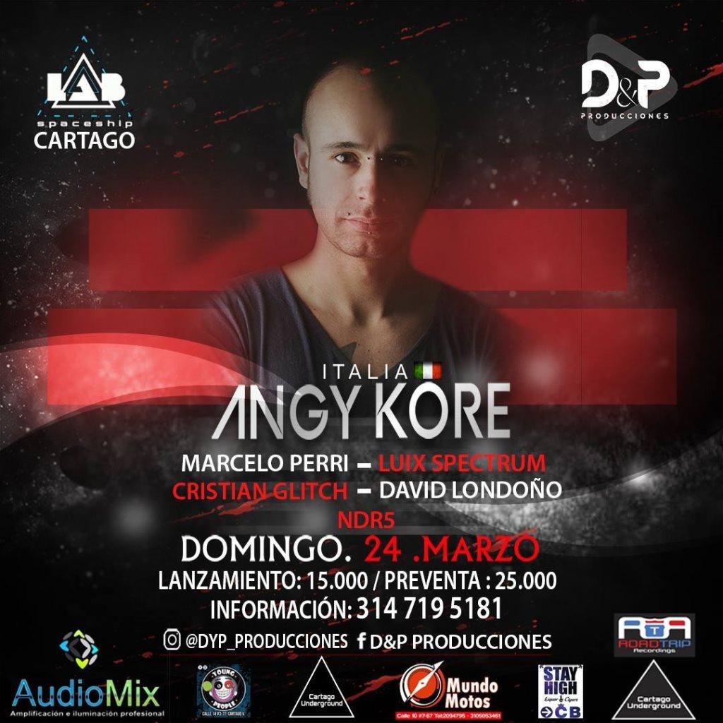 Angy Kore / Marcello Perri / Cartago - Flyer front