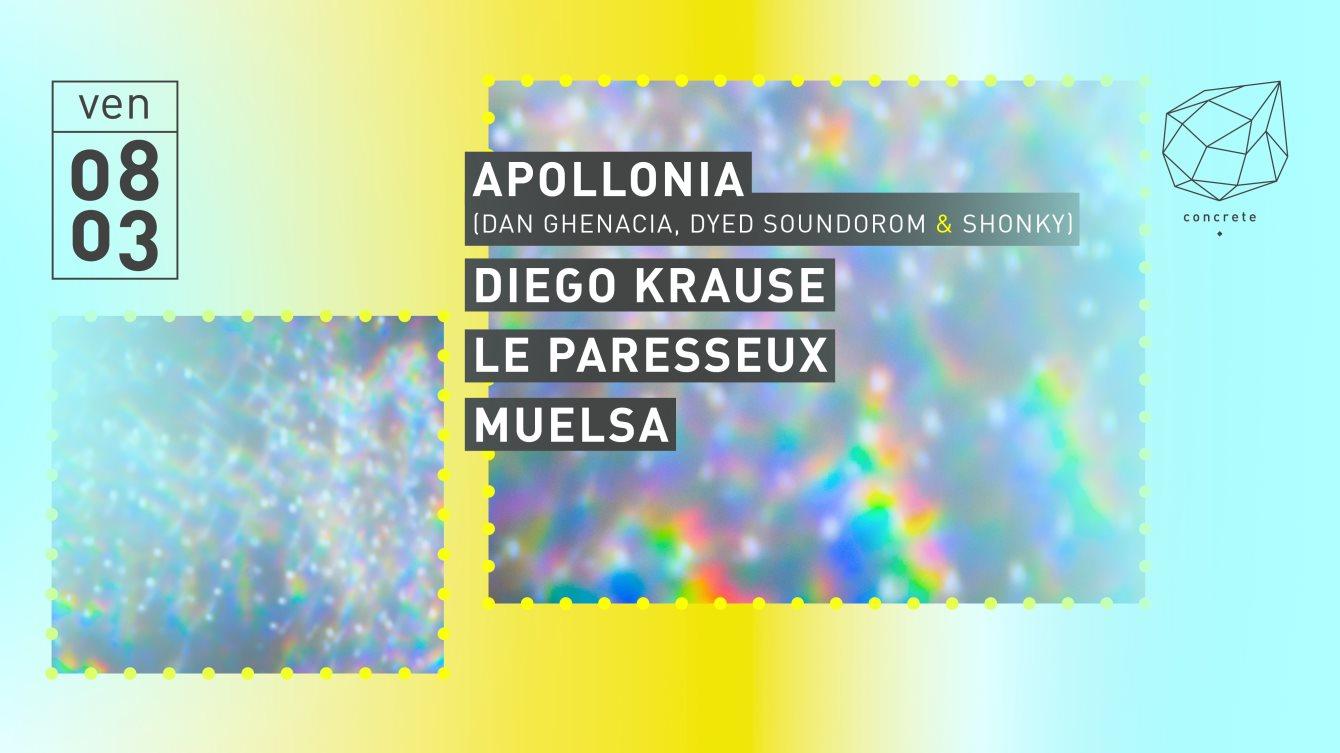 Concrete: Apollonia, Diego Krause, Le Paresseux, Muelsa - Flyer front