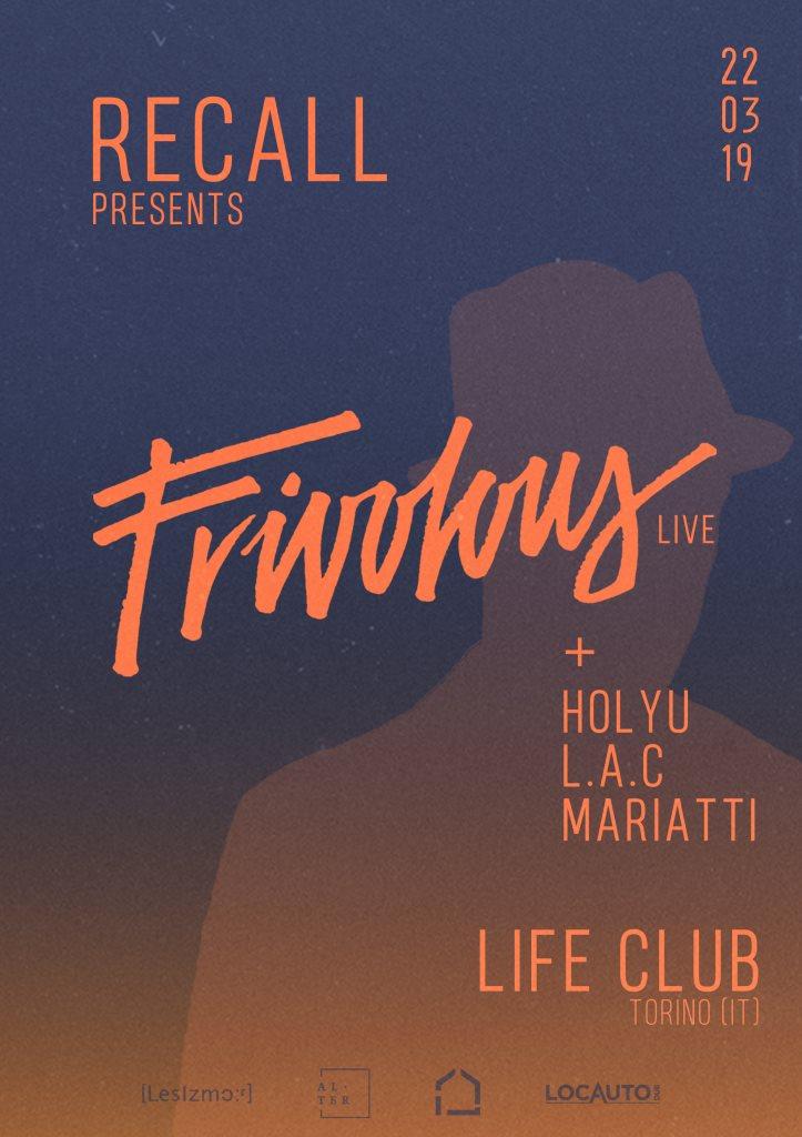 Recall presents: Frivolous (Live) - Flyer back