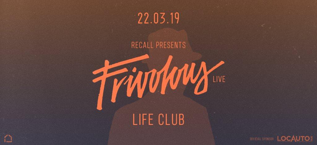 Recall presents: Frivolous (Live) - Flyer front