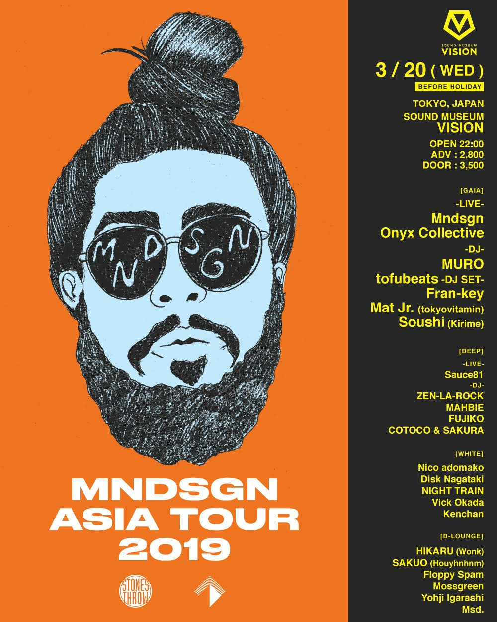 Mndsgn From LA (Stones Throw) Tokyo Show. Support Acts: Onyx Collective From NY. Muro, Sauce 81 - Flyer front