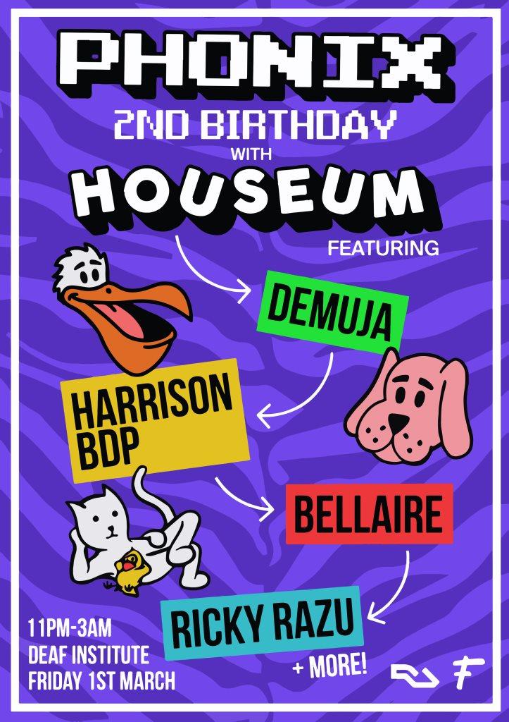 Phonix x Houseum present: Demuja, Harrison BDP, Bellaire & Ricky Razu - Flyer front
