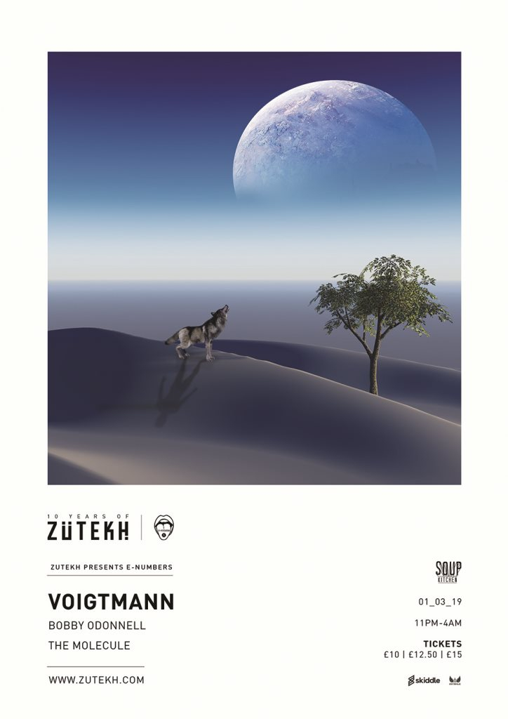 Zutekh presents E-Numbers with Voigtmann & More - Flyer front