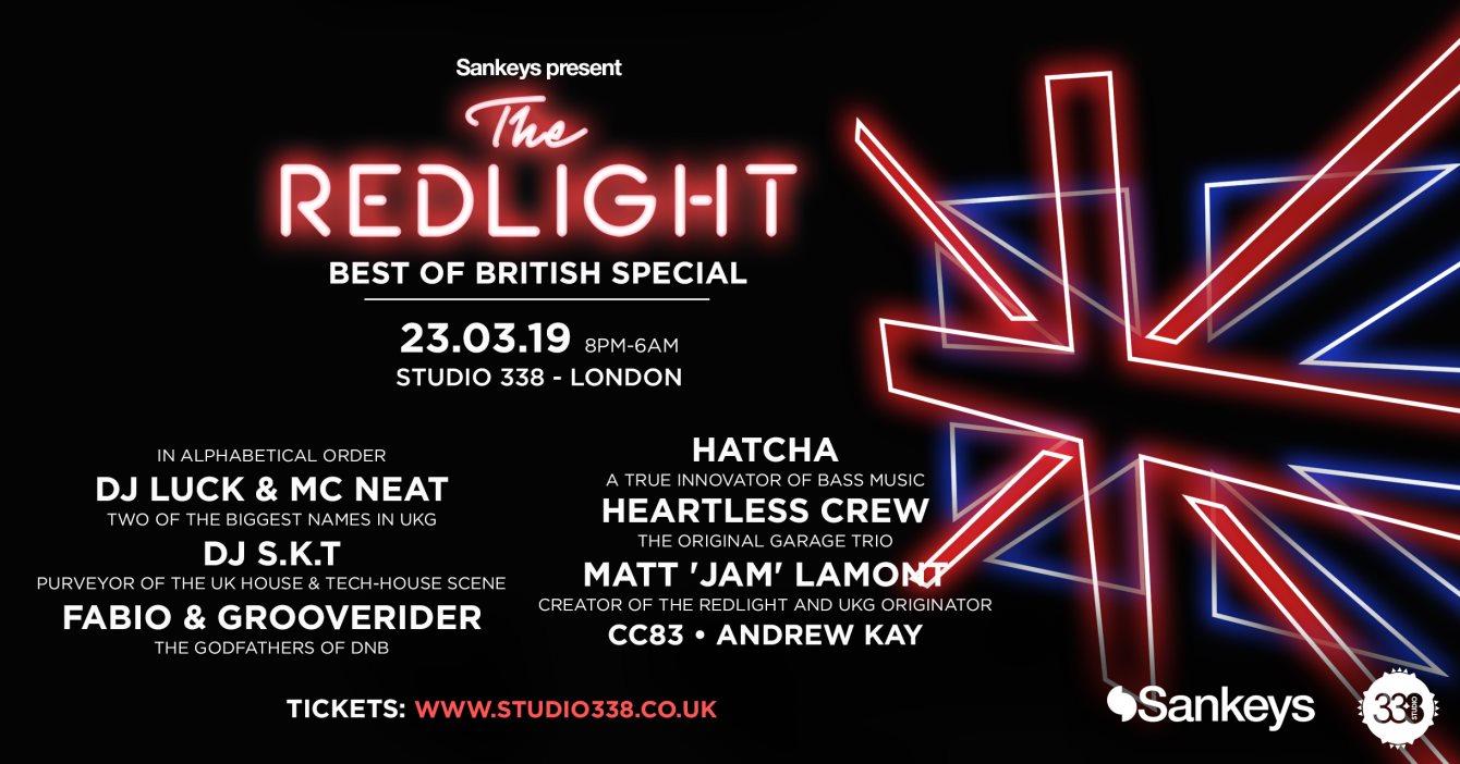 Sankeys Pres. The Redlight: Best of British Edition - Flyer front
