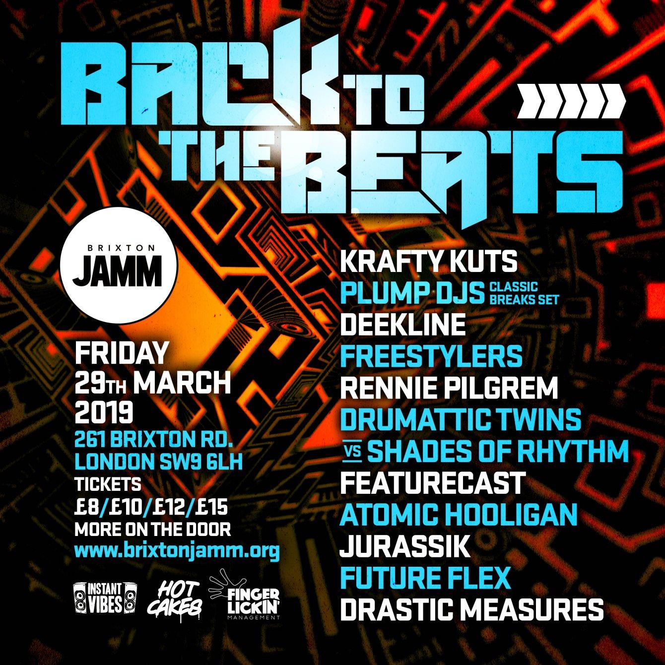 Back To The Beats: Krafty Kuts, Plump DJs, Deekline, Freestylers - Flyer front