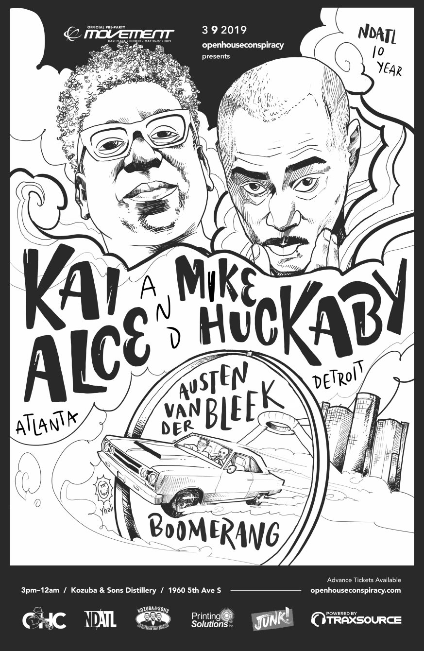 NDATL 10 Year with Kai Alce & Mike Huckaby (Official Movement Pre-Party) - Flyer front