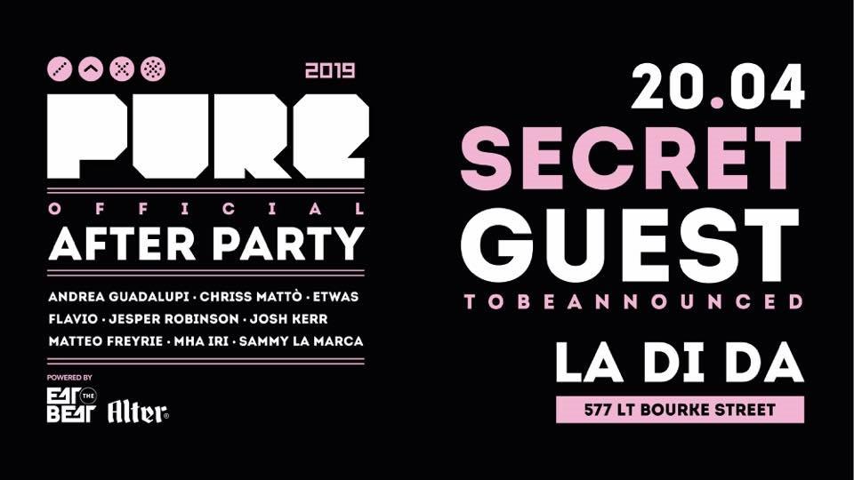 Pure Melbourne: Official Afterparty (Secret International TBA) - Flyer front