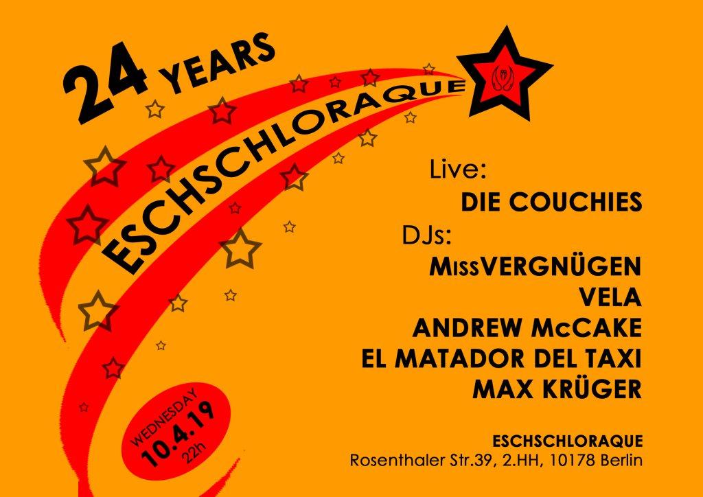 24 Years Eschschloraque! Geburtstags-Special & DIE Couchis Aftershow - Flyer front