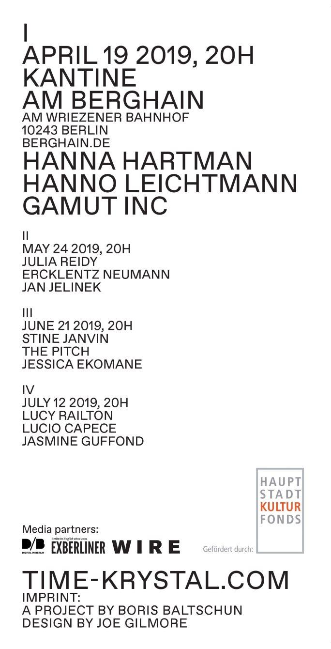 Time Krystal I - Hanna Hartman / Hanno Leichtmann / Gamut Inc - Flyer back