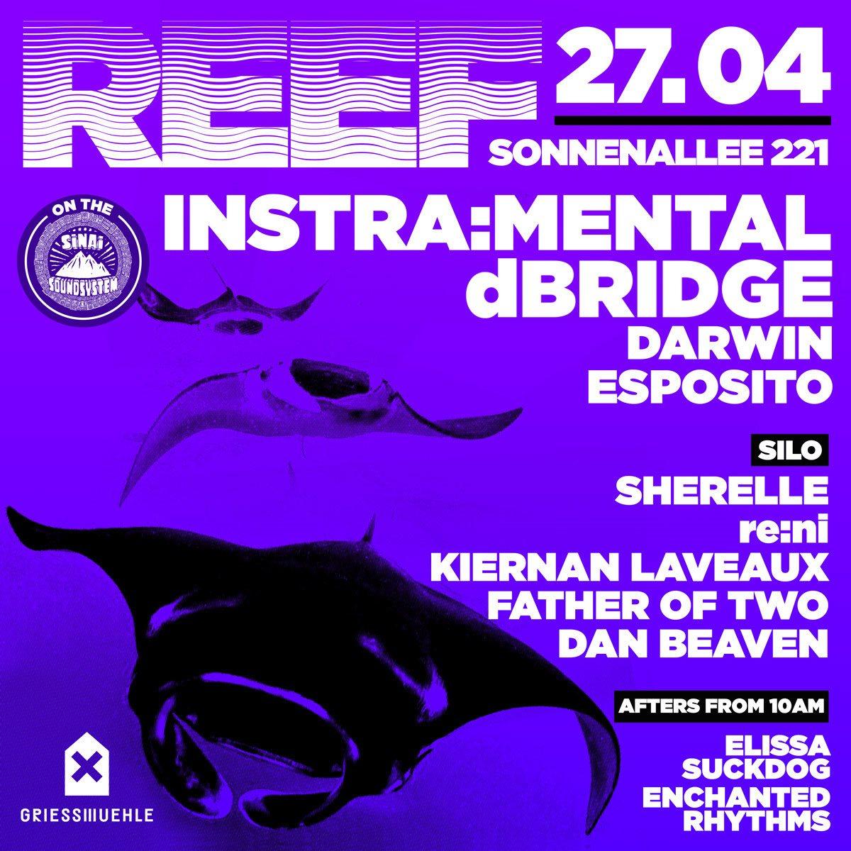 Reef with Instra:mental, dBridge, Sherelle, re:ni, Kiernan Laveaux - Flyer front