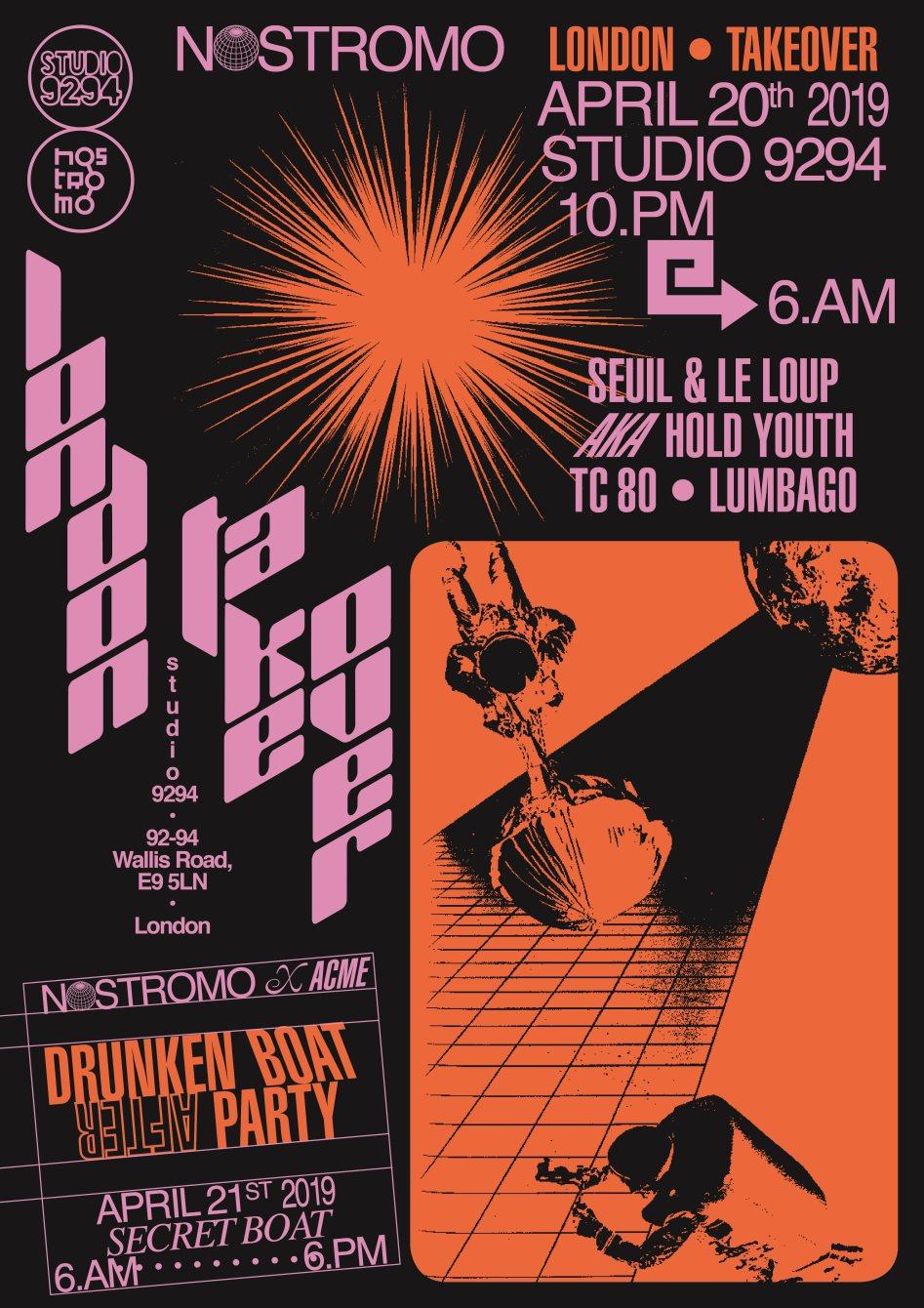 Le Loup, Seuil, TC80 & Lumbago: Nostromo London Takeover - Flyer back