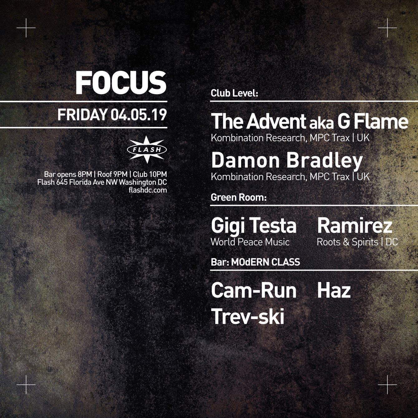 Focus: The Advent aka G Flame - Damon Bradley - Flyer back