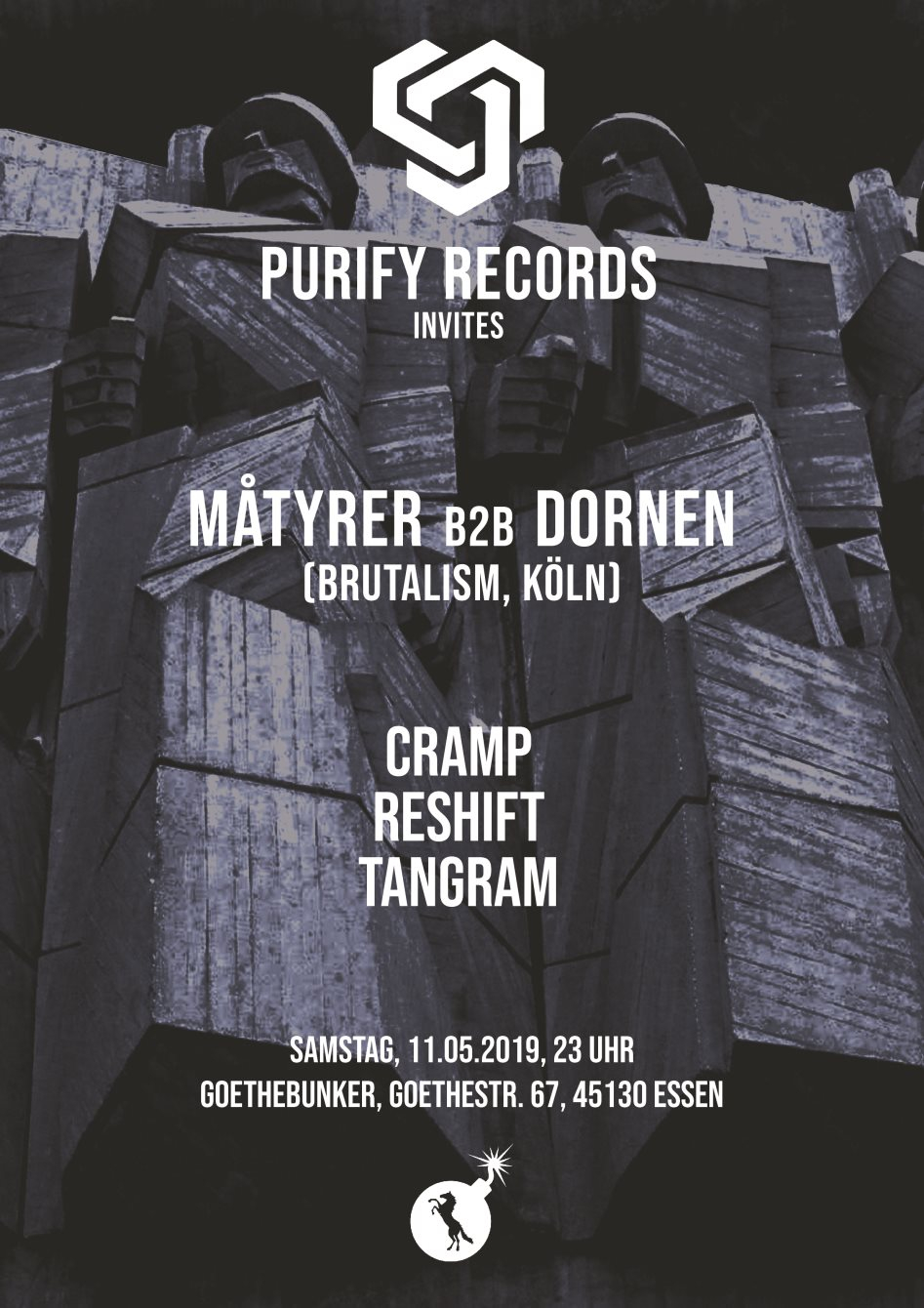 Purify Records Invites Brutalism - Flyer front