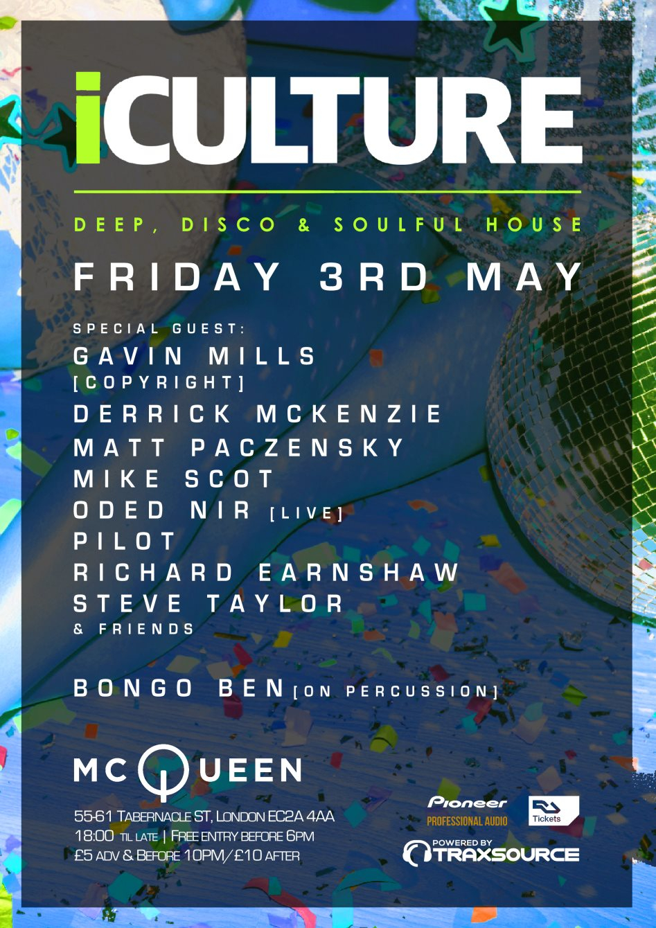 iCulture London at Mcqueen with Gav Mills (Copyright), Mike Scot, Oded Nir & Friends - Flyer front