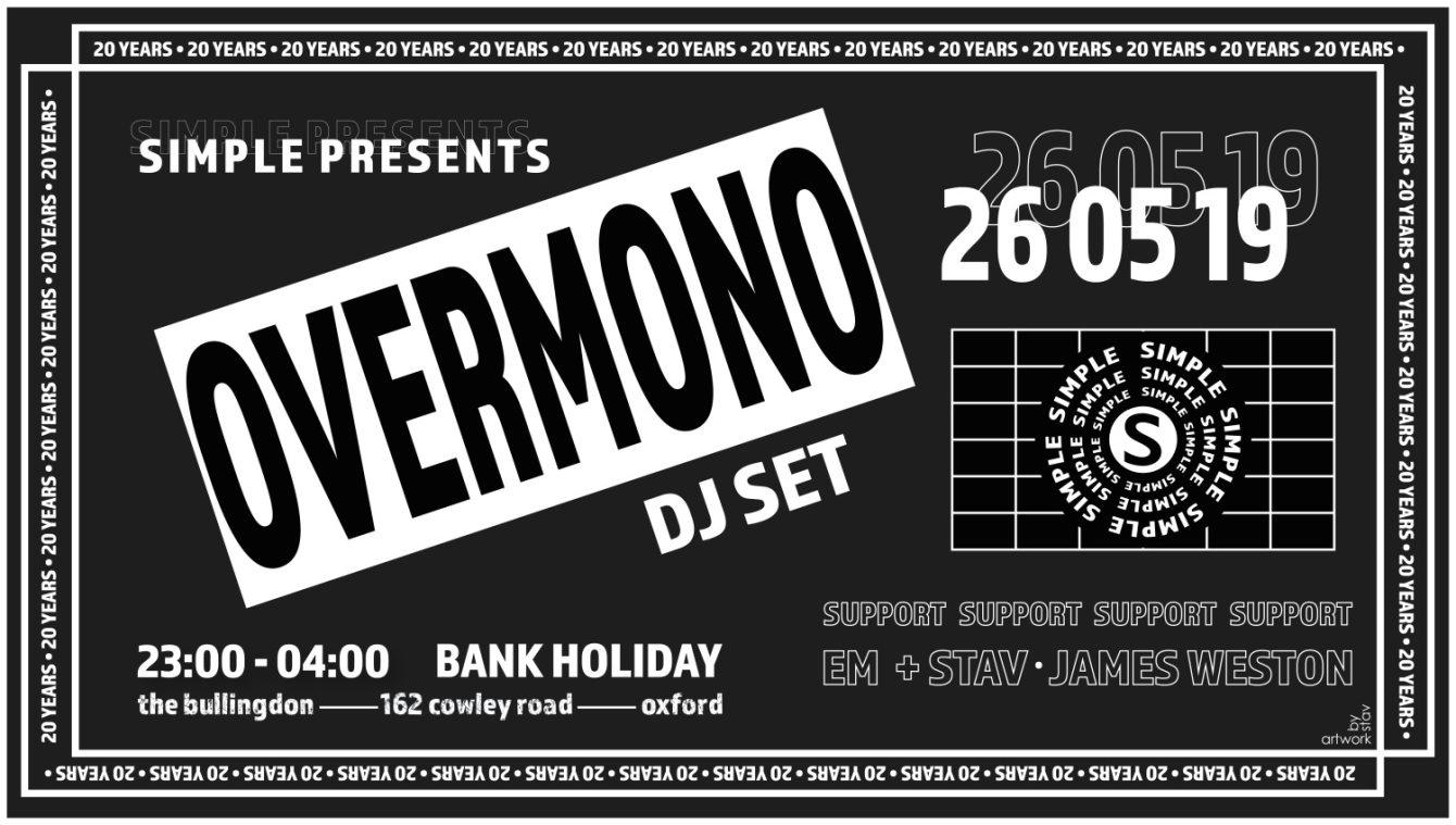 Simple presents Overmono (DJ set) - Flyer front