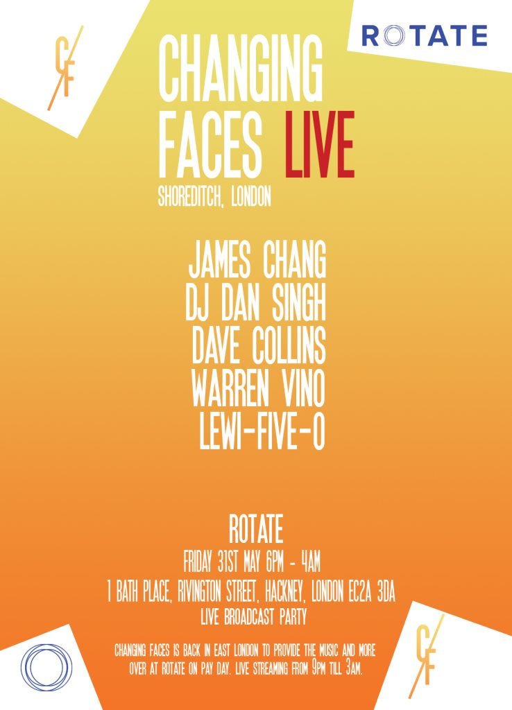 Changing Faces Live Shoreditch May 31st - Flyer front