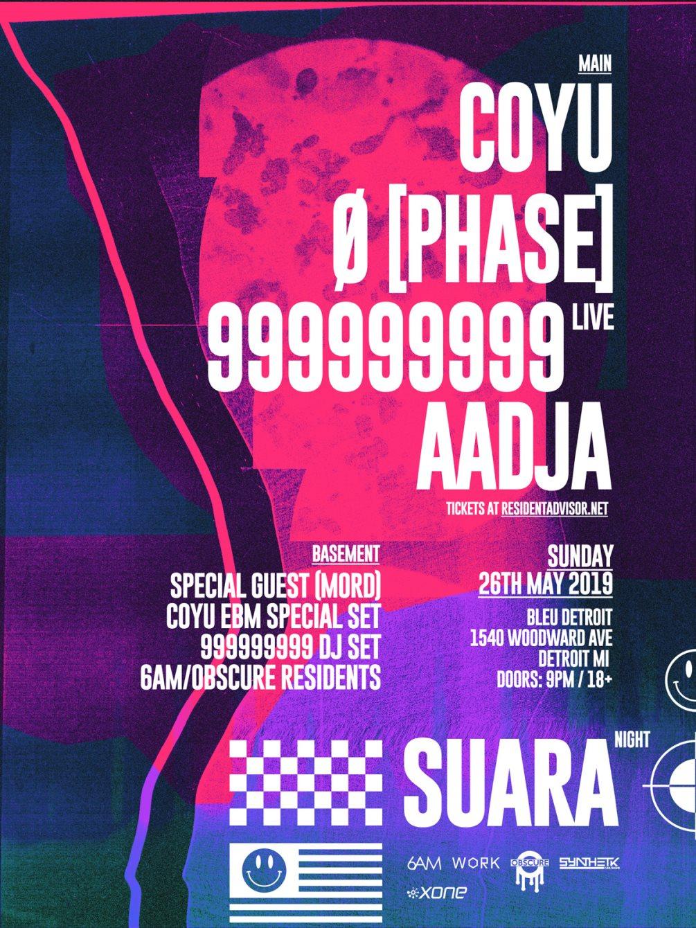 Suara Night Detroit: Coyu, Ø [Phase], 999999999 (Live), AADJA - Flyer front