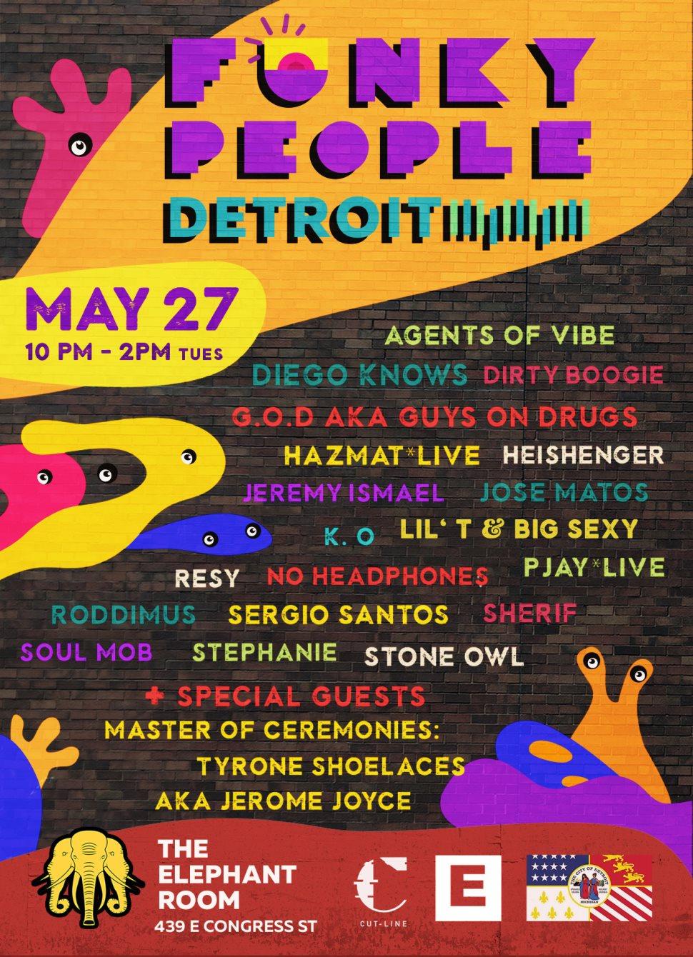 Funky People & Friends! Detroit - Night - Flyer front