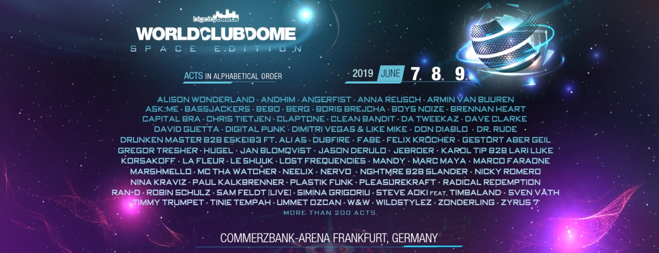 BigCityBeats World Club Dome 2019 - The Space Edition - Flyer front