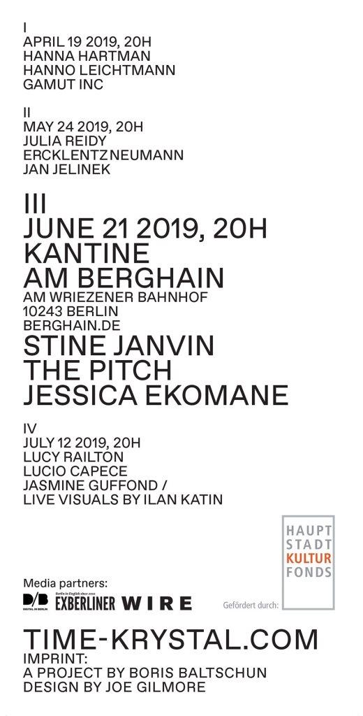 Time Krystal III - Stine Janvin / The Pitch / Jessica Ekomane - Flyer back