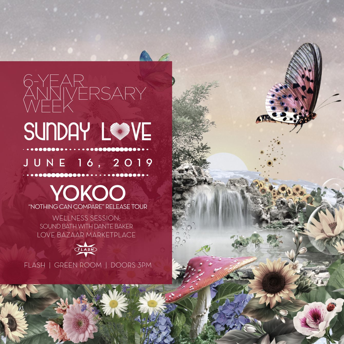 """Flash 6-Yr Anniv x Sunday Love: YokoO """"Nothing Can Compare"""" Release Tour - Flyer back"""