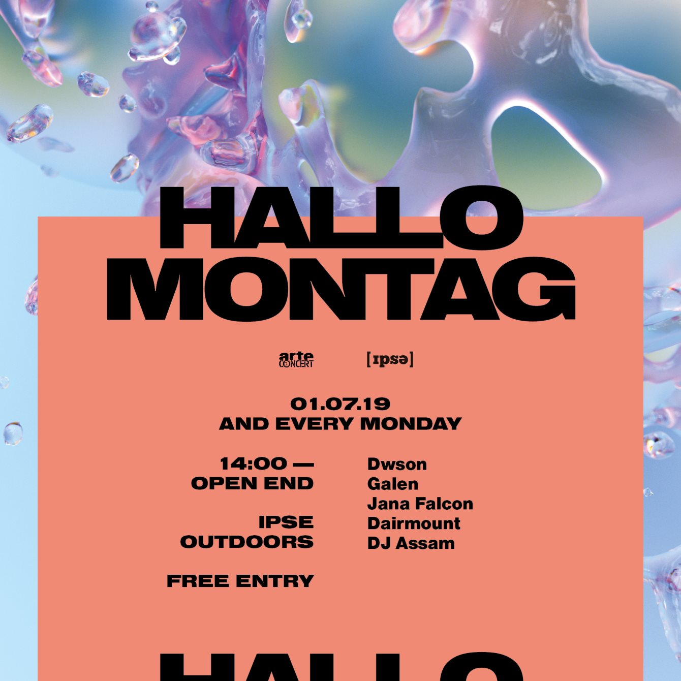 Hallo Montag - Open Air #10 with Dwson, Galen, Jana Falcon and More - Flyer front