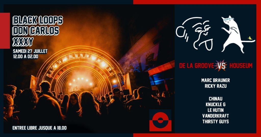 De La Groove vs Houseum & Black Loops, Don Carlos, xxxy - Flyer front