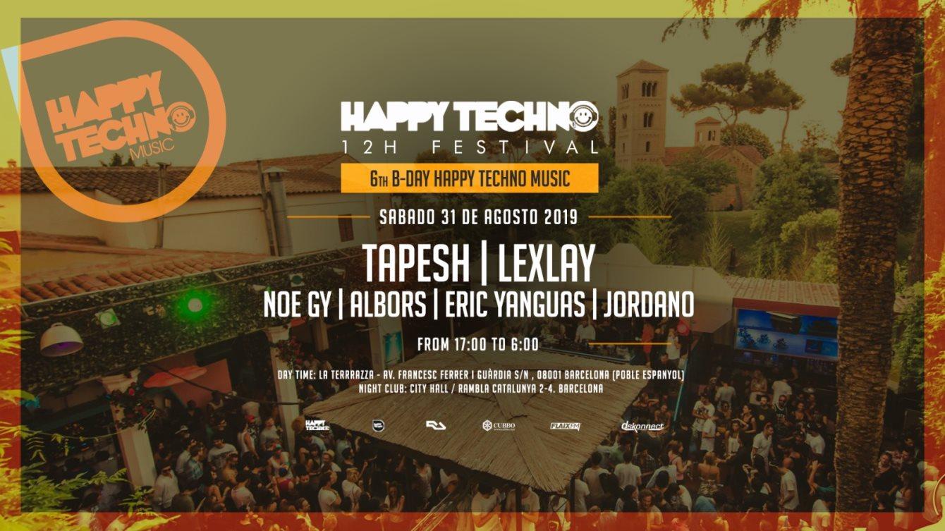 HAPPY TECHNO 12h Festival 6th Bday - La Terrrazza Daytime & Cityhall Nightime - Flyer back